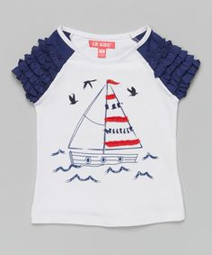 Another great find on #zulily! White Sailboat Ruffle Top - Infant & Girls #zulilyfinds