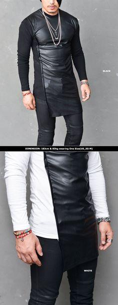 Mens Unbalance Long Leather Contrast Snug Round Tee By Guylook.com