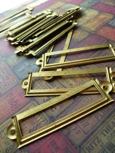 2 Vintage Small Brass Label Holders