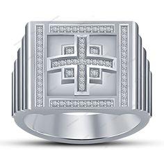 Round Cut Diamond 0.90 CT White Gold Finish 925 Silver  Men's Cross Wedding Ring #aonedesigns #MensCrossWeddingRing