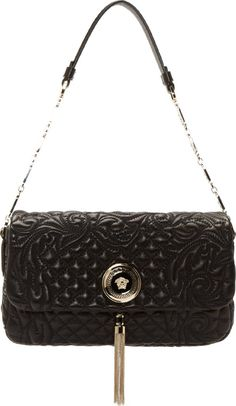 Versace Black Quilted Leather Shoulder Bag 42404F070011 Quilted leather  shoulder bag in black. Gold- d711779ca6a71