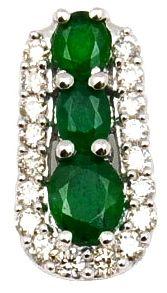An antique emerald brooch.    English circa 1860
