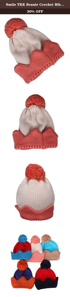 Smile YKK Beanie Crochet Rib Pom Knit Photography Crown Beige Pink. Baby's crown shape knitted hat,colorful and so cute ,suitable for children .Knitted material, warm and thick, bring a warm winter to children. Cap circumferential is about 46-50cm ,width: 24cm ,high: 25cm.