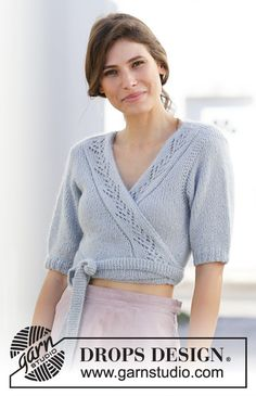 Holiday in Rome / DROPS - Free knitting patterns by DROPS Design - Knitted wrap jacket in DROPS Alpaca and DROPS Kid-Silk. The piece is knitted with lace pattern from top to bottom. Sizes S – XXXL. Lace Patterns, Knitting Patterns Free, Free Knitting, Crochet Patterns, Drops Design, Top Pattern, Cardigan Pattern, Free Pattern, Bauchfreier Pullover