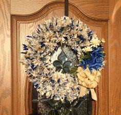 """20"""" Blue, Cream and Gold Shabby Chic Wreath by PensPreciousTreasure on Etsy"""