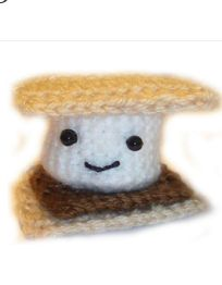 Relive those moments sitting around a campfire and roasting s'mores with this adorable Ooey Gooey S'more Amugurumi. You can work up this crochet amugurumi without all the mess of making a real s'more - no sticky fingers here.