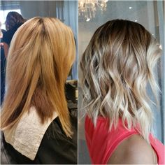 """Color Correction- transitioning a partial weaved/foiled blonde into a soft balayage + Razor haircut Lob (See next post for formula & placement) #balayage…"""