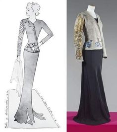 SCHIAPARELLI designed by Jean COCTEAU, haute couture, Autumn 1937. Embroidery made by LESAGE. Short jacket in gray linen