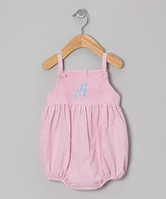 Take a look at this Pink Stripe Seersucker Initial Knot Bubble Bodysuit - Infant on zulily today!