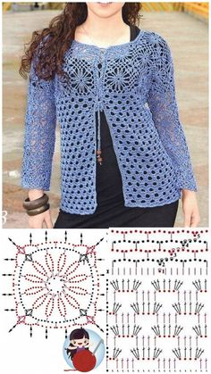 Cardigan Au Crochet, Crochet Tunic Pattern, Crochet Motifs, Crochet Jacket, Freeform Crochet, Crochet Cardigan, Knit Patterns, Cardigan Sweaters, Pull Crochet