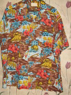 af35271d Items similar to Vintage hawaiian shirt 70s Sears Kings Road scenic hula  girls tribal tiki shirt sz xlarge on Etsy