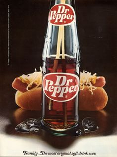 Here's a Dr. Pepper bottle ad from A Dr. Pepper and hot dog sound pretty good right now. This was taken from a University of Texas basketball program dated December Dr. Pepper, Vintage Advertisements, Vintage Ads, Vintage Food, Vintage Stuff, Vintage Images, Vintage Posters, Pepsi, Coca Cola