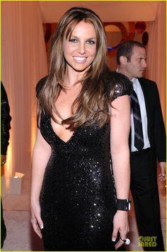 Britney Spears: Brown Hair at Elton John Oscars Party 2013