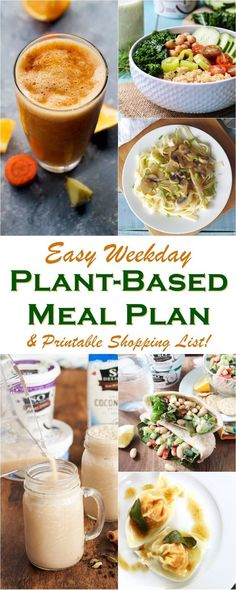 Easy Weekday Plant-Based Meal Plan - new delicious dairy-free and vegan recipes for breakfast, lunch and dinner with gluten-free options
