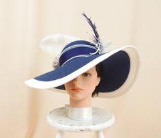454305648ae Navy Blue and White Hat   Kentucky Derby Hat   Church Hat   Fashion Hat    Blue Floppy Hat   Wide Brim Hat   Ascot Hat   Formal Hat