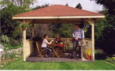3 x 4 Timber Garden Gazebo with Bitumen Roofing Shingles | eBay