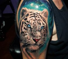 Awesome 3 colors realistic tattoo style of Snow Tiger motive done by tattoo artist Tyler Malek | Post 18893 | World Tattoo Gallery - Best place to Tattoo Arts