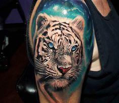 Snow Tiger tattoo by Tyler Malek - Tattoo Portal Taz Tattoo, Big Cat Tattoo, Snow Tattoo, Tiger Hand Tattoo, Cute Tattoos, Beautiful Tattoos, Body Art Tattoos, Tatoos, Amazing Tattoos
