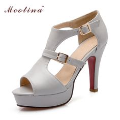 Meotina Women Shoes Sandals Summer 2017 Gladiator Sandals Buckle Heels Platform High Heels Sandals Ladies Shoes Big Size 9 10