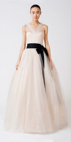 EMMELINE  V-neck tissue organza ballgown with illusion corset bodice, and french tulle veiled metallic hand painting, with grosgrain sash at natural waist