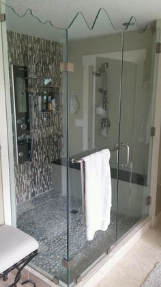 Beautiful bathroom renovation, love this Shower stall.