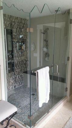 Beautiful bathroom renovation, love this Shower stall.