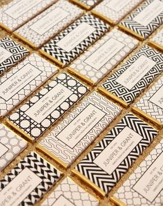 59 Trendy Wedding Invitations Black And White Diy Art Deco Geometric Patterns, Paper Patterns, Wedding Gifts For Guests, Wedding Cards, Invitaciones Art Deco, Art Deco Party, Personalized Candy Bars, Personalized Party Favors, Candy Bar Wrappers