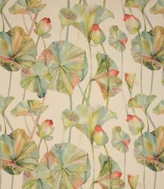 Voyage Decoration Cheriton Fabric / Pomegranate Foliage, Watercolour, Nature, Leafy. This beautiful, painterly foliage fabric would create a stunning focal point, bringing the outside in.