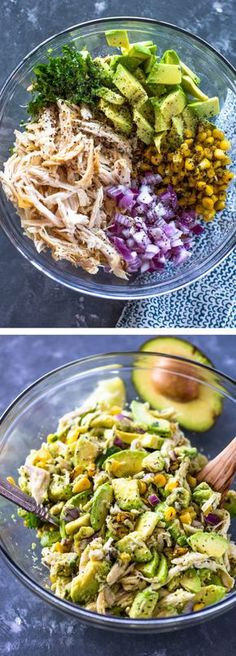 Healthy Avocado Chicken Salad2 Chicken breasts, cooked 2 Avocados, 1/2 cup Corn 2 tbsp Lime 1/4 cup Red onion