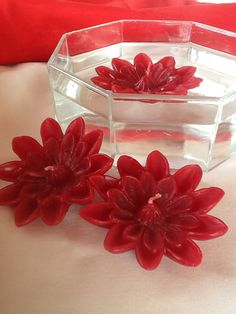 Red Flowers! Handmade floating candles!