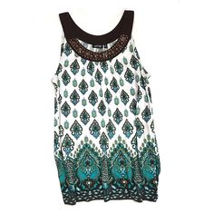 "HP 🎉 • Apt. 9 • Paisley • Print • Top Cute sleeveless top that is soft and comfortable! Bold colors of greens, aqua, black and white. Has a beautiful jeweled edge around the front top.  🔶Brand • Apt. 9.  🔶Size • Small.  🔶Chest • underarm across 17"".  🔶Length • 26.5"".  🔶Fabric • 100% rayon.  🔶Condition • worn with much care in beautiful condition. Apt. 9 Tops Blouses"