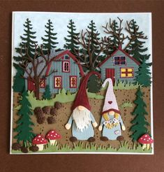 kabouters Fall Cards, Xmas Cards, Craft Projects, Projects To Try, Marianne Design Cards, Diy And Crafts, Paper Crafts, Rena, Christmas Crafts