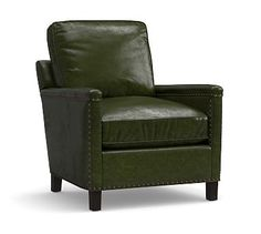 Tyler Leather Armchair with Bronze Nailheads, Polyester Wrapped Cushions, Leather Legacy Forest Green