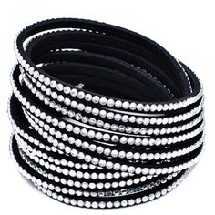 Black Vegan Leather and White Swarovski Crystals Wrap Bracelet ($5) ❤ liked on Polyvore featuring jewelry, bracelets, black, jewelry & watches, faux leather bracelet, black white bracelet, black bangles, swarovski crystal bangle and vegan jewelry