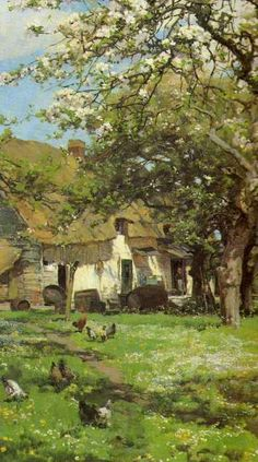 ۩۩ Painting the Town ۩۩ city, town, village & house art - Alfred Parsons - Spring in the Orchard Garden Painting, Painting & Drawing, Landscape Art, Landscape Paintings, Illustrations, Illustration Art, Country Scenes, Wow Art, Paintings I Love