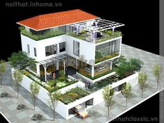 thiết kế biệt thự Bungalow House Design, House Front Design, Tiny House Design, Modern House Design, Dream House Exterior, Dream House Plans, Modern House Plans, House Design Pictures, Terrace Design