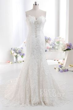 Charming+Trumpet-Mermaid+Sweetheart+Dropped+Train+Lace+Ivory+Sleeveless+Zipper+Wedding+Dress+with+Beading+and+Appliques+LD2329 #cocomelody #weddingdress