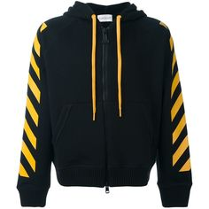 Moncler X Off-White striped hoodie ($495) ❤ liked on Polyvore featuring men's fashion, men's clothing, men's hoodies, black, mens sweatshirts and hoodies, mens patterned hoodies and mens hoodies