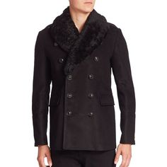 Burberry Beechen Moleskin Peacoat ($3,095) ❤ liked on Polyvore featuring men's fashion, men's clothing, men's outerwear, men's coats, apparel & accessories, black, burberry mens coat, mens double breasted pea coat, mens fur lined coat and mens double breasted coat