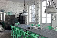 Green Ming chairs POP in a monochromatic kitchen