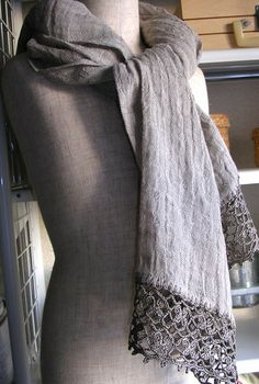 linen gauze scarf with cotton crochet trim