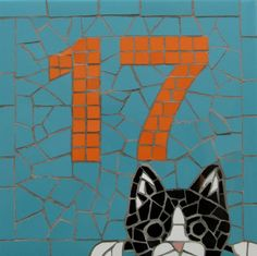 Decorative house number in mosaics; mosaic house plaque/ sign;made to order; this one was approved by Felix the cat! by handmadebyhippo on Etsy