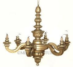 Antique Solid Wood Distressed Gold 6 Arm Light Hanging Ceiling Chandelier  p28