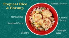 "This is ""Tropical Rice & Shrimp"" by SPECIALTY RICE INC. on Vimeo, the home for high quality videos and the people who love them. Seafood Rice Recipe, Rice Recipes, Shrimp And Rice, Coconut Shrimp, Cilantro Salsa, Jasmine Rice, Shredded Carrot, Dinner Tonight, Recipe Using"