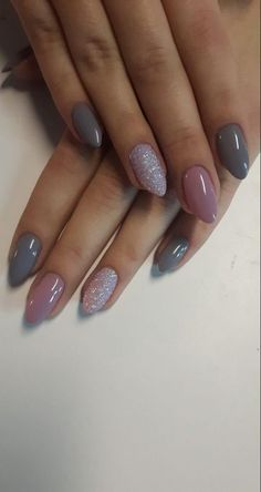 60 Awesome Acrylic Almond Nails Designs to Inspire You 60 Awesome Acrylic Almond Nails Designs to Inspire You<br> Acrylic Almond Nails can be seen everywhere in the street. They are one of the most popular nail shapes. This nail shape is called Grey Nail Designs, Almond Nails Designs, Fall Nail Art Designs, Short Almond Shaped Nails, Almond Shape Nails, Nails Shape, Almond Gel Nails, Pink Gel Nails, Glitter Nails