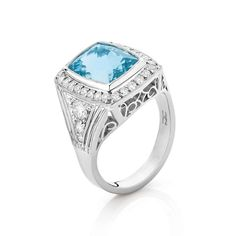 Aquamarine and Diamond Dress Ring