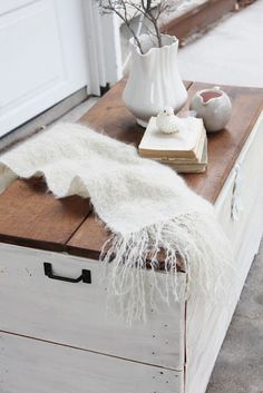 Natural Top and White Base Table - could be a great look for the chest as a coffee table