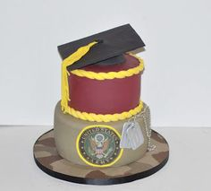 Graduation Cake / Army Cake on Cake Central Military Send Off Party Ideas, Military Party, Army Party, Army Cake, Military Cake, Marine Cake, Farewell Cake, Specialty Cakes, Cake Central