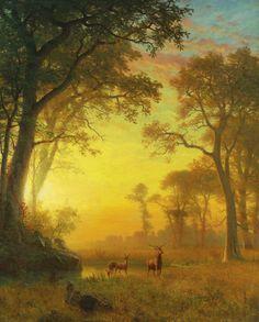 [フリー絵画素材] アルバート・ビアスタット – 森林の中の光 ID:201306151900 - GATAG|フリー絵画・版画素材集