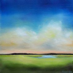 """Colorful modern marsh painting """"Daybreak Marsh I"""" 12x12 oil"""